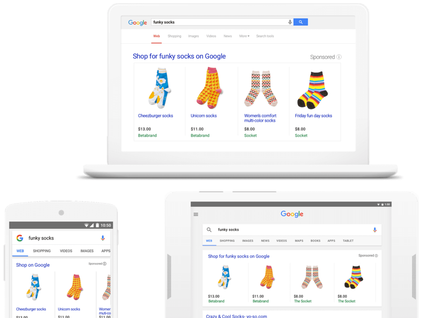 An image of a laptop, tablet and phone showing an example of Google shopping results for funky socks