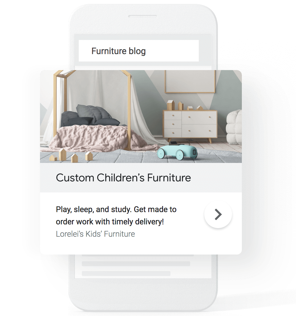 A mobile phone screen of a search for furniture blog with the advert highlighted for clarity