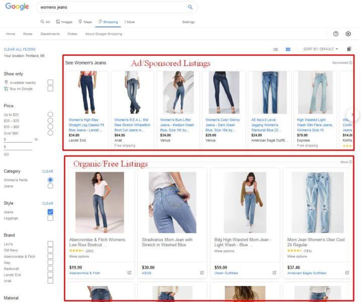 Google Shopping paid and organic listing example - Avant Digital